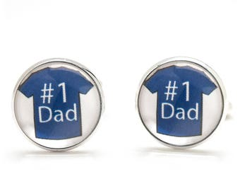 Dad Cufflinks - Number One Dad - Dad Cufflinks - Birthday Gift for Dad - Father's Day Gift - Blue Red Cufflinks - Unique Gifts for Men