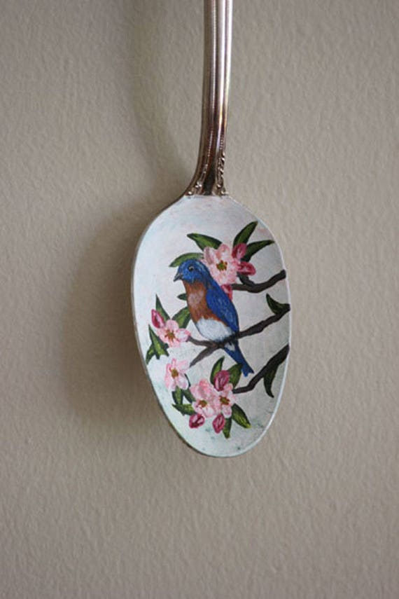Eastern Bluebird in Apple Blossoms, Unique, Collectible Painted Spoon, bird art, Small Gift, garden art, songbirds, blue, pink, ornament