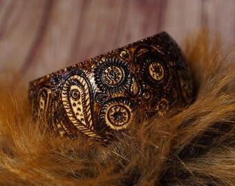 boho  ornament wooden burned  bracelet Eco style