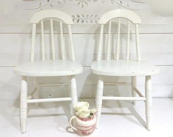Childs Wood Chair White Pair