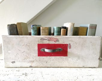 Vintage Wood Box Drawer Divided White Red Large Kitschy Farmhouse