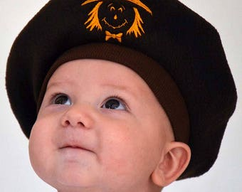 Kids Fleece French Beret in Brown with Scarecrow Halloween Hat Kids Hat Fall Autumn  Kids Costume Outher Wear Photo Prop