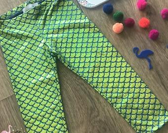 Girls Metallic Foil Green Mermaid Leggings, Toddler Leggings Fish Scale Leggings, Mermaid Leggings Girls, Mermaid Outfit,Dance Kids Legging