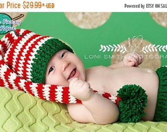 SUMMER SALE Baby Stocking Hat Long Tail Pompom Elf Pixie - Crochet Newborn Beanie Boy Girl Christmas  Photo Prop Cap Outfit