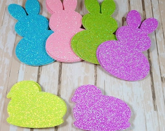 24 Easter glitter die cut scrapbook Bunnies, Chicks, Peeps