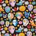 NEW - Timeless Treasures - Festive Sugar Skulls and Animals - Black - Novelty Fabric - Choose Your Cut 1/2 or Full Yard