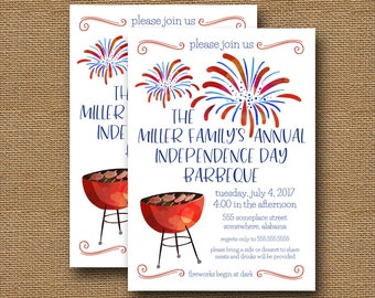 4th of July Invitation | Cute July 4th Cookout Invite | July 4th BBQ | Independence Day Barbecue | Red White Blue Barbeque | DIY PRINTABLE