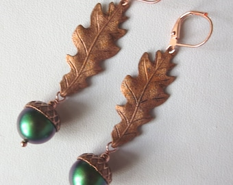 Genuine Copper Oak Leaf and Acorn Leverback Earrings
