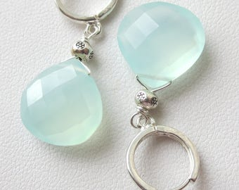 Large Aqua Chalcedony Sterling Silver Hoop Earrings