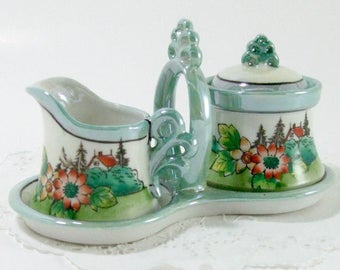 Vintage Mini Cream and Sugar Bowl w Holder, Hand Painted Lustreware, Made in Japan, Lidded Sugar Bowl, Creamer Jug, TheSweetBasilShoppe
