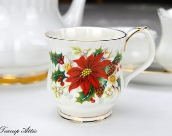 Royal Albert Poinsettia Mug, Vintage English Bone China Mug, Birthday Gift,  ca. 1976-1997
