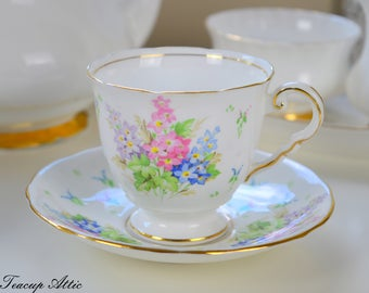Royal Stafford Vintage Teacup and Saucer With Pink and Blue Flowers, English Bone China, Tea Party, Wedding Gift, ca. 1970
