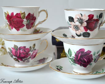Set of 4 Vintage Teacup And Saucers with Red Roses, Instant Tea Party Set, Bridal Shower Tea Party, ca. 1950