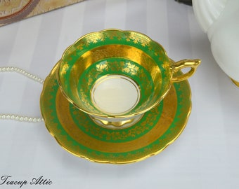 Royal Stafford Green and Gold Teacup and Saucer, Vintage Teacup, English Bone China, Wedding Gift,  ca. 1950-
