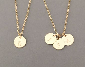 Stamped Initial Disc Necklace Available in Gold Fill, Rose Gold Fill, and Sterling Silver