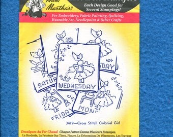 Aunt Martha's 3419 Cross Stitch Colonial Girl Days of the Week  Embroidery Transfer UNCUT UNUSED