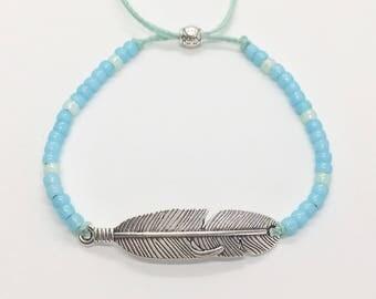 beach jewelry, feather bracelet , beach boho mermaid, gift for her