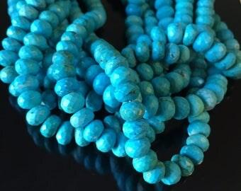 Turquoise Rondelles Faceted Large Genuine Gemstone