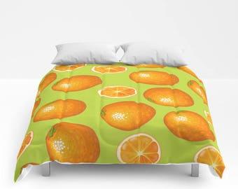 Oranges Duvet Cover or Comforter, Bedding, Retro, Bedspread, Bed Cover, Lime Bed Cover Orange Pattern King Size Duvet Cover Queen Size Quilt