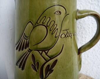 vintage Greek,handmade,glazed terracotta jug,carafe from Sifnos island,green with brown interior & bird design
