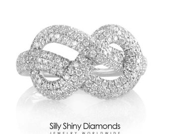 Infinity Knot Diamond Ring - The Original Infinity Engagment Ring, 1 Carat Pave Diamond Ring, 14K Gold Ring, Cluster Ring.