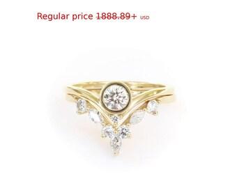 Summer Sale! Unique Natural Diamond Bridal Set, Engagement Ring and Matching V Ring Side Band, Bindi Round Diamond Ring & Marquise Diamonds