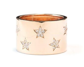 Star Diamond Ring, 14K Gold Band Ring Size 7, 0.25 Ct Diamond Ring, Diamond Band Ring, Women Jewelry Gift
