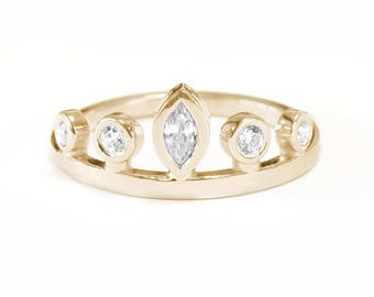 Marquise Crown Unique Engagaement Ring, Bezel Setting, Delicate Diamond Ring, Simple Elegant, 14K Yellow Gold - White Gold - Rose Gold
