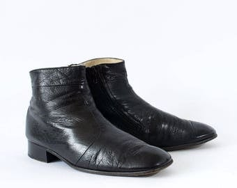 Vintage Black Real Leather Chelsea Boots Women's UK 8.5 EU 42.5 US 10.5