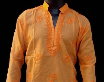 Custom Kurta for LARA. White shirt Mehroon neckline embroidered tunic gypsy clothing Indian shirt