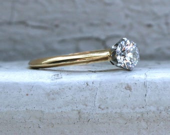 Classic Vintage 18K Yellow Gold Diamond Solitaire Engagement Ring By Tiffany & Co. - 0.43ct.