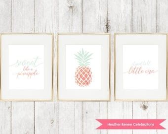 Printable Pineapple Nursery Art Set | Pink and Mint Print | Home Decor Instant Download