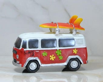 Retro Surfer Van Coin Piggy Bank, Red And White, Green and Yellow Flowers, Orange and Yellow Surfboards, Resin Coin Bank, Money Holder, Surf