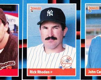 Vintage Baseball Cards Donruss 1988, Rich Rhoden, New York Yankees, John Candelaria, New York Mets, Eric Show, San Diego Padres, 3 Cards