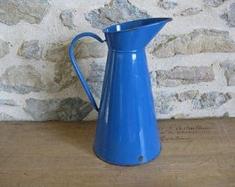 Blue enamel pitcher, tall vintage French enamelware jug, French country home decor
