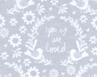 Nursery Flannel Fabric - Grey You Are So Loved - 34 inches