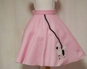 pink poodle skirt,costume,kids costume,halloween costume,felt poodle skirt,fifties costume