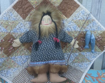 Vintage Eskimo Woman w/her Daily Fish Catch