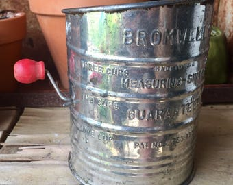 Bromwell's Vintage Flour Sifter, 3 Cup with Red Wooden Crank