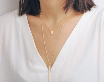 ON SALE layered geometry necklace - gold triangle necklace - gold spike necklace - statement necklace
