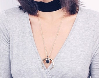 ON SALE Gold crescent moon necklace + sexy black velvet choker - layered necklace