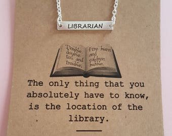 Librarian Bar Pendant, Horizontal Bar Necklace,  Book Lovers Jewellery, Gifts For Bookworms, Library Gift, Literary Jewellery Gifts For Her