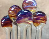 Unique Drink Stir Rods in amber and purple Hues by Ocean Beach Glass