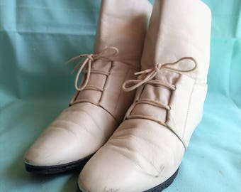 Europrep White Leather Ankle Boots - Womens US 8.5B