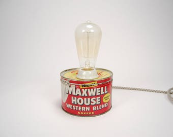 Industrial Lamp, Coffee Can Lamp, Red Lamp, Metal Lamp, Small Desk Lamp, Table Lamp, Coffee Decor, Maxwell House, Vintage Lamp, Coffee Tin