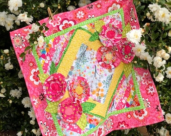 Baby Quilts, Baby Girl Quilts, Appliquéd Quilts, Baby Bedding Sets, Flower Quilts, Toddler Quilts, Pink Quilts, 3D Quilt
