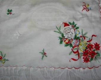 Santa Christmas Hankie Poinsettia Noel Handkerchief in a Colorful Cotton Print a Pretty Festive Retro Vintage Holiday Purse Accessory