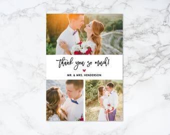 Printable Modern Brush Script Collage Thank You Photo Card