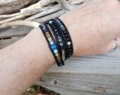 Hope Bracelet Handmade Japanese Power Stone Jewelry Leather Wrap Layer Bracelet Healing Jewelry Obsidian Bracelet Black Blue Yellow Stones