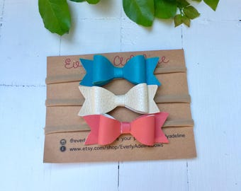 Set of 3 {Classic} Hair Bows. Nylon Headband Bows. Toddler Bows. Hair Clip Bows.